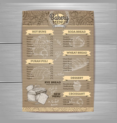 Vintage bakery menu design on cardbpard vector
