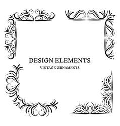 vintage design oranamets corners set vector image