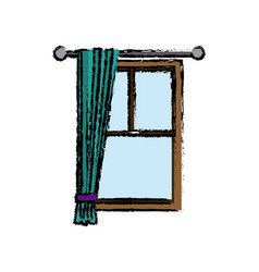 Window with curtain interior decoration vector
