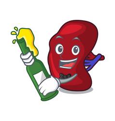 with beer spleen mascot cartoon style vector image