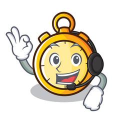 With headphone chronometer character cartoon style vector