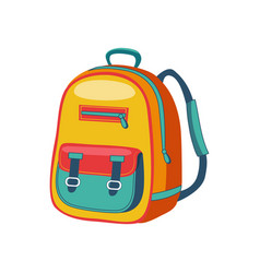 yellow and blue schoolkid backpack set of school vector image