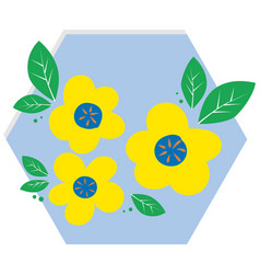 yellow flowers in blue hexagon vector image