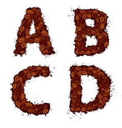 ABCD english alphabet letters made of coffee vector image vector image