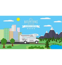 City and Mountains with forest and lake landscape vector image