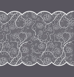 lace pattern with roses on gray background vector image vector image