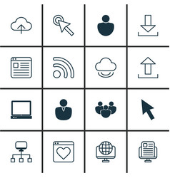 set of 16 internet icons includes computer vector image vector image