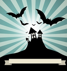 Spooky Castle with Bats - Retro Template vector image