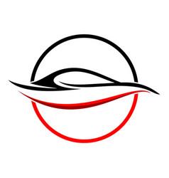 circular abstract red car shape symbol vector image