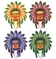 Four heads of native american indians vector image vector image