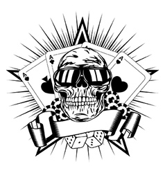 skull in sunglasses playing cards dice chips vector image