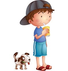 A young boy drinking beside a cute puppy vector image vector image
