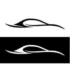 abstract car shape black and white symbol vector image vector image