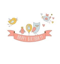 Birds on happy birthday party banner vector