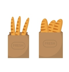 Bread in a paper bag Loaf Baguette in the papers vector image vector image