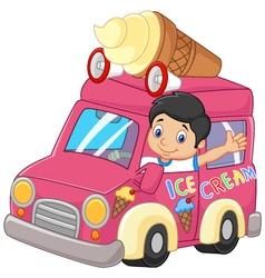 Cartoon little boy driving car and waving vector image vector image
