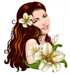 girl with flowers vector image