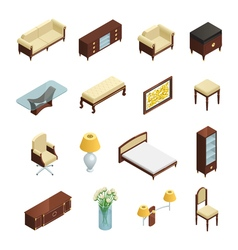 Luxury Interior Isometric Elements vector image vector image