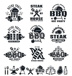 Set of barbecue labels badges and design elements vector image