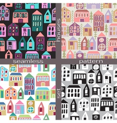 Set of seamless pattern houses vector image