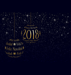 spanish christmas and new year 2018 greeting card vector image