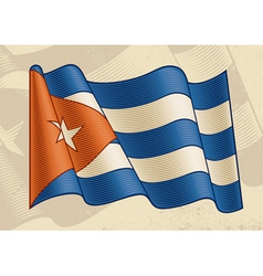 Vintage cuban flag vector