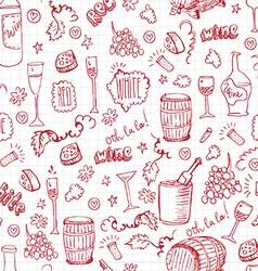 Wine sketch vintage seamles vector image