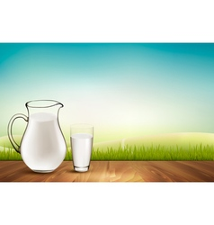 Background with wooden floor and glass of milk vector