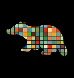 badger mammal color silhouette animal vector image vector image
