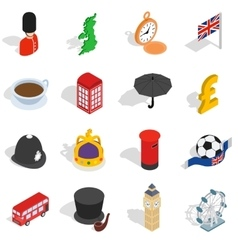 England icons set isometric 3d style vector image