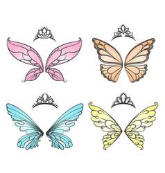 fairy wings with princess tiara vector image