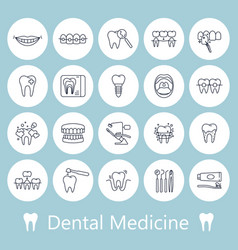 teeth dentistry medical line icons vector image