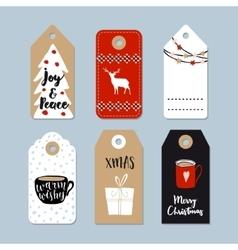 Vintage Christmas gift tags set Hand drawn labels vector image vector image