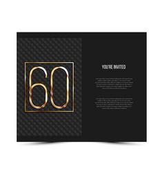 60th anniversary invitation card template vector