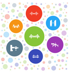 7 bridge icons vector