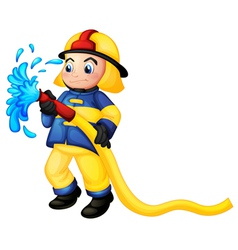 A fireman holding a yellow water hose vector image vector image