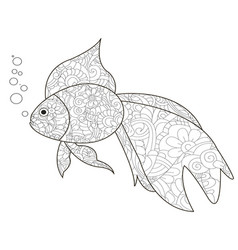 Antistress coloring book is a goldfish black vector