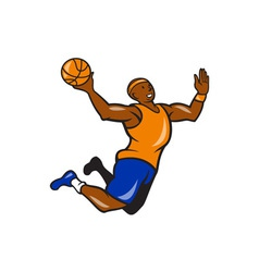 Basketball Player Dunking Ball Cartoon vector