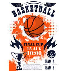 basketball sport game poster with ball and trophy vector image
