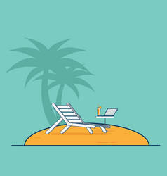 beach chair and laptop vacation travel concept vector image