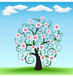 Blooming tree and sky vector image