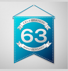 blue pennant with inscription sixty three years vector image