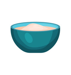 Bowl of flour baking ingredient vector