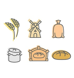 Bread baking Set of icons Flat signs production of vector image