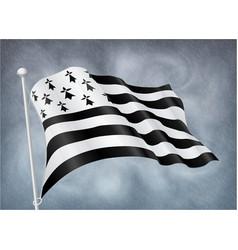 breton flag on wind with rainy sky background vector image