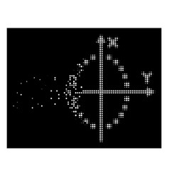 Bright disappearing dot halftone ellipse plot icon vector
