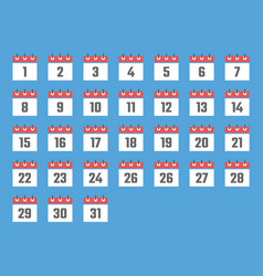 Calendar icon date flat icons from 1 to 31 vector