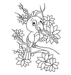 Cartoon bird coloring page vector