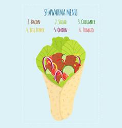 Cartoon shawarma menu with ingredients kebab meat vector