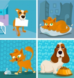cat and dogs cartoon vector image